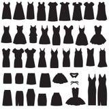 被隔绝的礼服和裙子剪影 免版税库存图片
