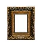 被隔绝的空白的古色古香的金黄框架 免版税库存照片