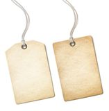 被隔绝的空白的老纸价牌或标号组  免版税库存照片