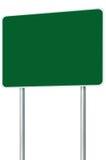 被隔绝的空白的绿色牌路名字标志,大透视拷贝空间,白色框架路旁路标波兰人岗位名字标志 免版税图库摄影