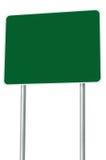 被隔绝的空白的绿色路标,大透视拷贝空间 免版税库存图片