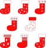 被隔绝的红色圣诞节长袜 免版税库存图片