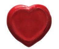 被隔绝的红色心脏蜡封印 图库摄影