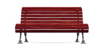 被隔绝的红色木板条长凳 免版税库存图片