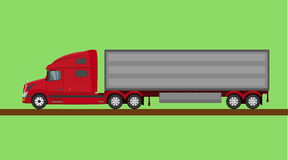被隔绝的红色美国卡车 免版税图库摄影