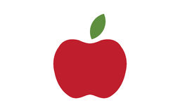 被隔绝的红色苹果计算机象 现代简单的平的果子标志 自然食物,互联网概念 时髦eco传染媒介素食主义者标志 免版税库存图片