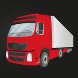 -被隔绝的红色送货卡车 图库摄影