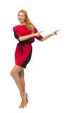 被隔绝的红色黑礼服的美丽的夫人  免版税库存照片