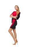 被隔绝的红色黑礼服的美丽的夫人  免版税图库摄影