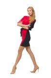 被隔绝的红色黑礼服的美丽的夫人  图库摄影