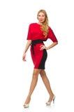 被隔绝的红色黑礼服的美丽的夫人  免版税库存图片
