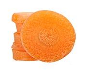 被隔绝的红萝卜切片 免版税库存照片