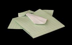 被隔绝的纸做的绿色格子花呢上衣。 免版税图库摄影