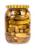 被隔绝的罐装黄瓜 库存照片