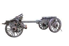 被隔绝的老历史用马拉的无盖货车 免版税图库摄影