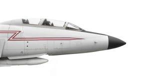 被隔绝的老喷气式歼击机的鼻子 库存图片