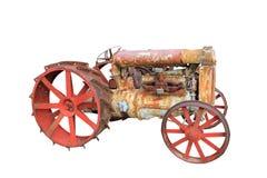 被隔绝的老葡萄酒古董拖拉机 免版税库存图片