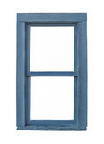 被隔绝的老蓝色木窗口 库存图片