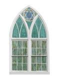 被隔绝的老被成拱形的教会窗口 库存照片