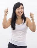被隔绝的背景的逗人喜爱的亚裔女孩 免版税图库摄影