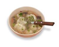 被隔绝的花椰菜汤和绿色 免版税库存图片