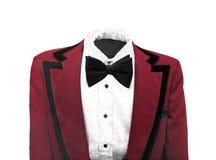 被隔绝的葡萄酒红色礼服夹克 免版税库存图片