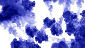 被隔绝的蓝墨水很多流程注射 蓝色颜色混合在水,在慢动作的射击中 墨似的背景的用途或 库存例证