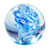 被隔绝的蓝色玻璃球 库存照片