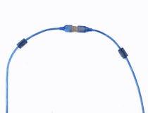 被隔绝的蓝色USB缆绳 免版税库存图片
