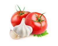 被隔绝的蕃茄和大蒜 免版税库存图片