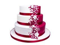 被隔绝的蛋白软糖方旦糖多层蛋糕装饰 免版税库存图片
