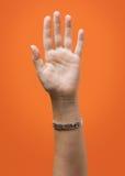 被隔绝的被举的女性手 库存图片