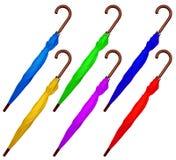 被隔绝的被折叠的五颜六色的伞 免版税图库摄影