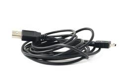被隔绝的被折叠的USB适配器缆绳 库存图片