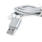 被隔绝的被折叠的USB闪电缆绳 库存图片