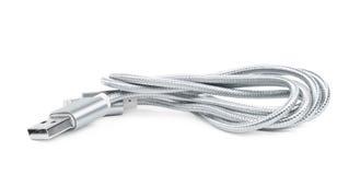被隔绝的被折叠的USB闪电缆绳 图库摄影