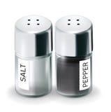 被隔绝的被标记的盐和胡椒罐 图库摄影