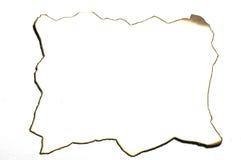 在白色背景的被隔绝的被烧的纸 免版税库存图片