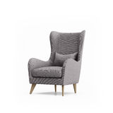 被隔绝的被隔绝的灰色扶手椅子 免版税库存图片
