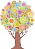 被隔绝的装饰树。风格化流程叶子  免版税库存照片