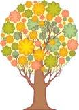 被隔绝的装饰树。风格化leav叶子  免版税库存图片