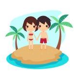 被隔绝的逗人喜爱的夫妇游泳衣沙子海洋 向量例证