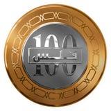 被隔绝的金子和银一百枚积土被说明的硬币从 免版税库存图片
