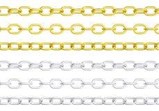 被隔绝的金黄和银色链子 库存例证