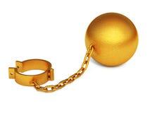 被隔绝的金黄手铐 库存例证