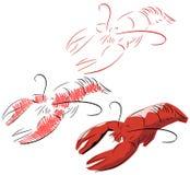 被隔绝的风格化龙虾 免版税库存图片