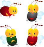 被隔绝的飞行昆虫例证,昆虫动画片 免版税库存图片