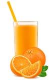 被隔绝的饮料 在与裁减路线的白色汁液隔绝的切片橙色果子和杯 免版税库存照片