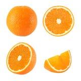 被隔绝的整个和切的橙色果子的汇集 库存照片