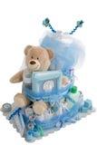 被隔绝的婴孩尿布蛋糕礼物 库存图片